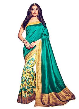 Beige N Green Bhagalpuri Silk Half N Half Saree