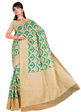 Beige N Green Brasso Silk Cotton Saree