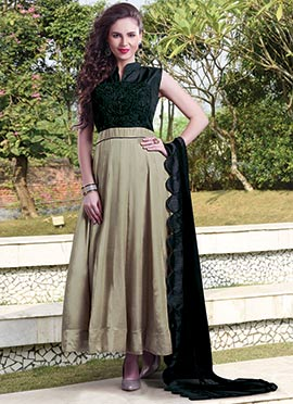 Beige N Green Embroidered Anarkali Suit