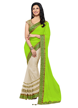 Beige N Green Embroidered Half N Half Saree