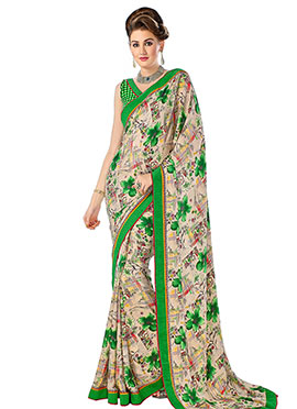 Beige N Green Foliage Patterned Crepe Saree