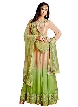 Beige N Green Net Ankle Length Anarkali Suit