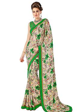 Beige N Green Printed Saree
