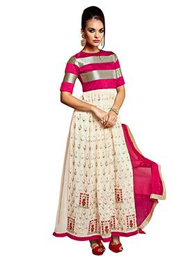 Beige N Hot Pink Anarkali Suit