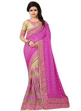 Beige N Magenta Pink Embroidered Half N Half Saree