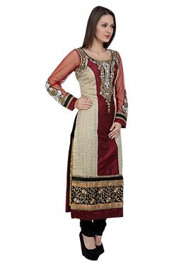 Beige N Maroon Silk Straight Suit