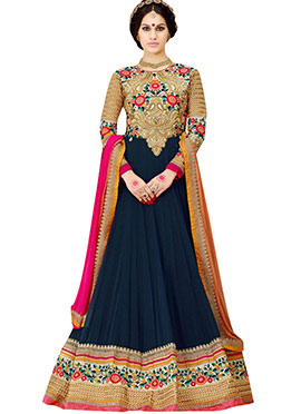Beige N Navy Blue Floor Length Anarkali Suit
