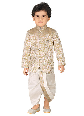 Beige N Off White Silk Blend Boys Sherwani