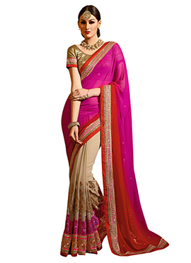 Beige N Ombre Embroidered Half N Half Saree