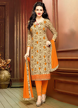 Beige N Orange Cambric Cotton Straight Suit
