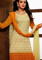 Cream N Orange Chiffon Churidar Suit