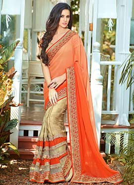 Beige N Orange Embroidered Half N Half Saree