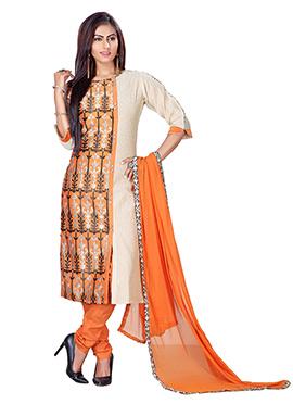 Beige N Orange Kora Silk Churidar Suit