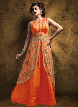 Beige N Orange Long Choli Lehenga