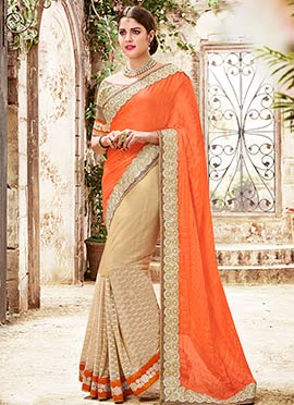 Beige N Orange Net N Satin Chiffon Half N Half Saree