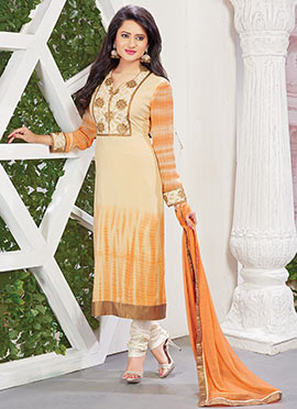 Beige N Orange Ombre Viscose Straight Suit