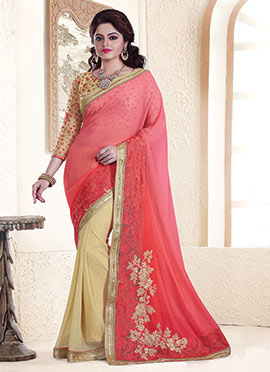 Beige N Peach Embroidered  Saree