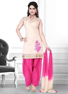 Beige N Pink Art Silk Salwar Suit