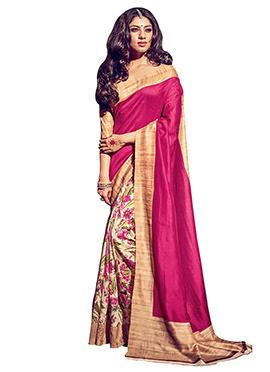 Beige N Pink Bhagalpuri Silk Half N Half Saree