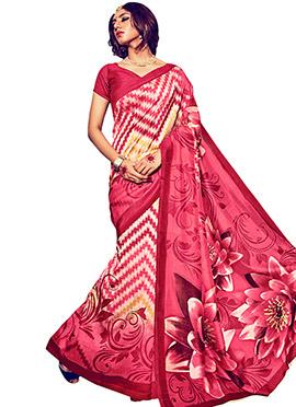 Beige N Pink Bhagalpuri Silk Saree