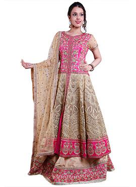 Beige N Pink Embellished Lehenga Choli