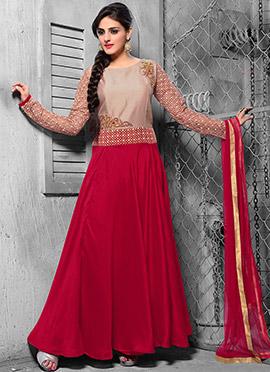Beige N Pink Embroidered Anarkali Suit