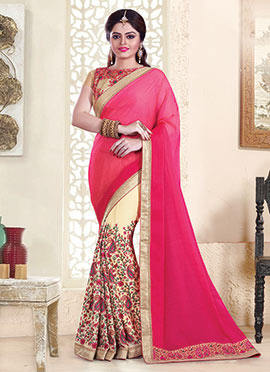 Beige N Pink Embroidered Half N Half Saree
