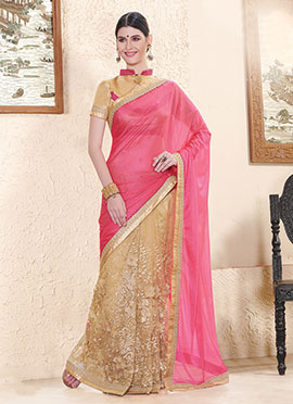 Beige N Pink Embroidered Half N Half Saree