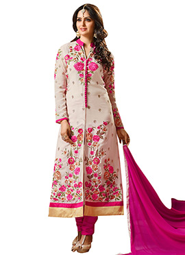 Beige N Pink Georgette Churidar Suit