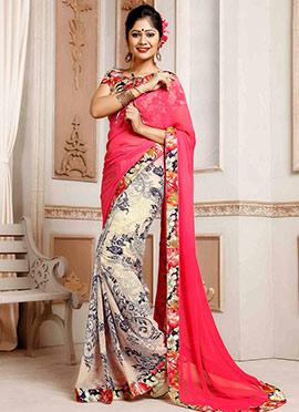 Beige N Pink Printed Half N Half Saree