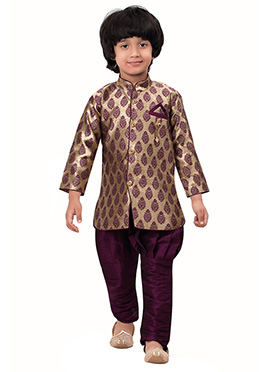 Beige N Purple Breeches Style Kids Sherwani