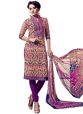 Beige N Purple Cotton Printed Churidar Suit