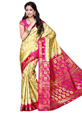 Beige N Rani Pink Raw Silk Saree