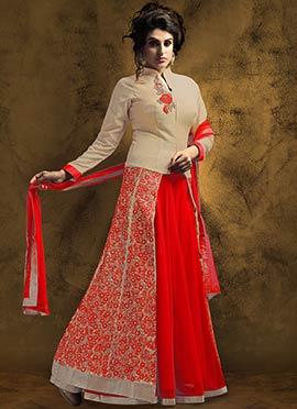 Beige N Red Art Silk Long Choli Lehenga