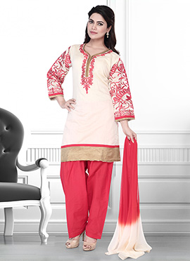 Beige N Red Art Silk Salwar Suit