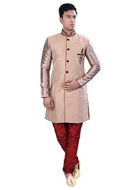 Beige N Red Art Silk Sherwani