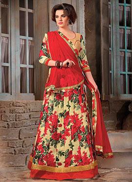 Beige N Red Bhagalpuri Silk Lehenga Choli