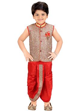 Beige N Red Blended Cotton Kids Dhoti Kurta Set