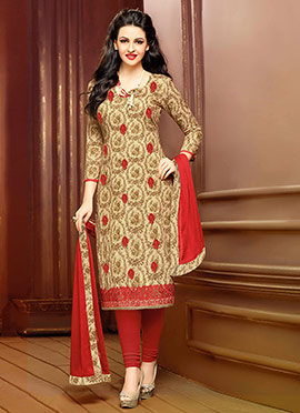 Beige N Red Cambric Cotton Straight Suit