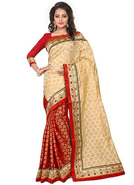 Beige N Red Chanderi Silk saree