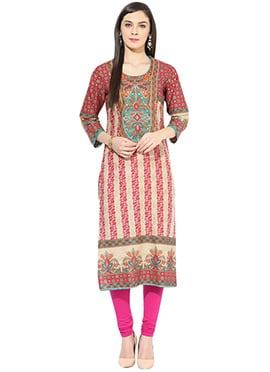 Beige N Red Cotton Kurti