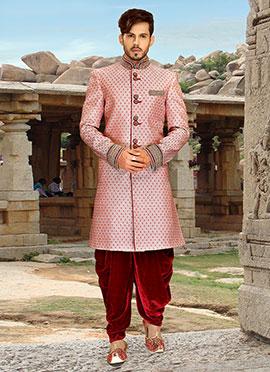 Beige N Red Dhoti Style Sherwani
