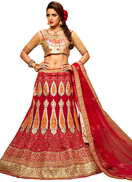 Beige N Red Embroidered A Line Lehenga Choli