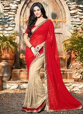 Beige N Red Embroidered Half N Half Saree