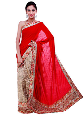 Beige N Red Embroidered Lehenga Saree