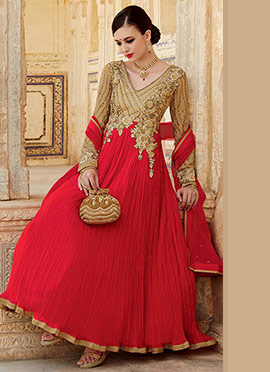 Beige N Red Georgette Crush Anarkali Suit