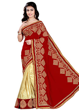 Beige N Red Georgette Half N Half Saree