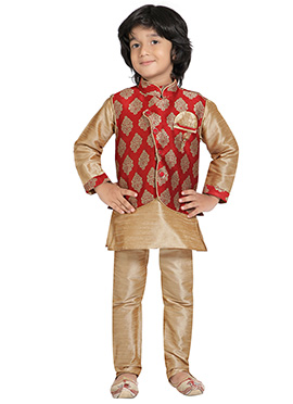 Beige N Red Kids Kurta Pyjama