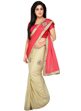 Beige N Red Lycra Ready Pleated Saree