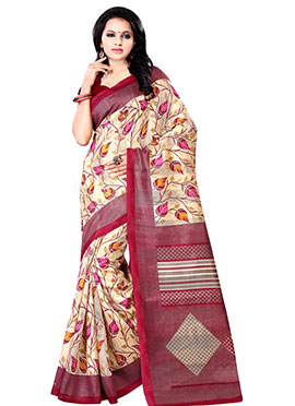 Beige N Red Printed Cotton Saree
